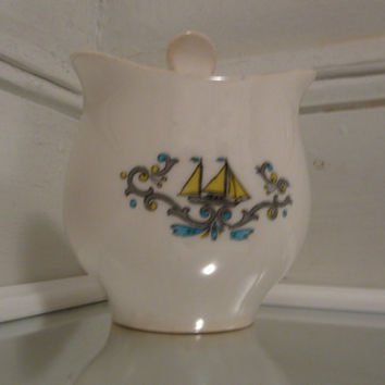 Vintage Sailboat sugar dish. Sweet yellow & Teal motif.