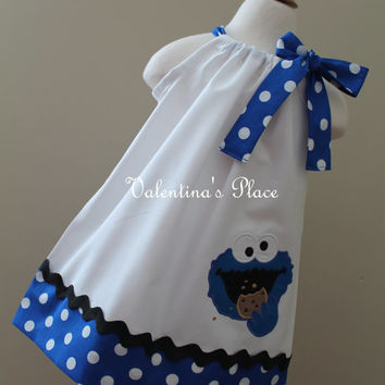 Sesame Street's Cookie Monster in pillowcase style dress