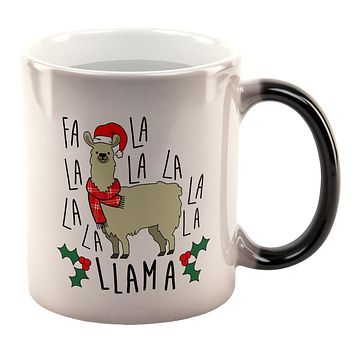 Christmas Fa La Llama All Over Heat Changing Coffee Mug
