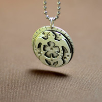Sea turtle sterling silver pendant with hibiscus flower shadowbox for peace and love