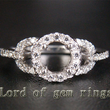 6mm Round Cut Pave .35ct Diamonds 14K White/Yellow/Rose Gold Halo Engagement Semi Mount Ring Setting