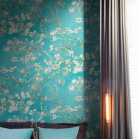 "Van Gogh Blossoming Almond Trees 33' x 20.8"" Floral and Botanical Plaster Wallpaper"