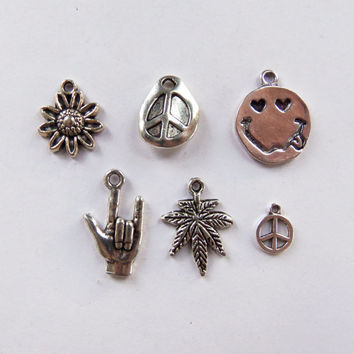 6 Piece Hippie Charm Collection, sunflower, peace sign, smiley face, i love you or rock on symbol on hand, pot leaf cannabis weed ~ SET4