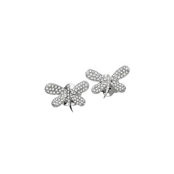 Staurino Fratelli 18k White Gold Diamond Dragonfly Stud Earrings