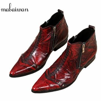 Mabaiwan Wine Red Men Ankle Boots Double Zipper