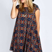 Plus Edie Cap Sleeve Swing Dress
