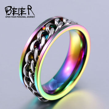 BEIER New Plated Gold Black Man's Cool Spin Chain Ring For Man Stainless Steel Cool Man Woman Fashion Jewelry BR-R065