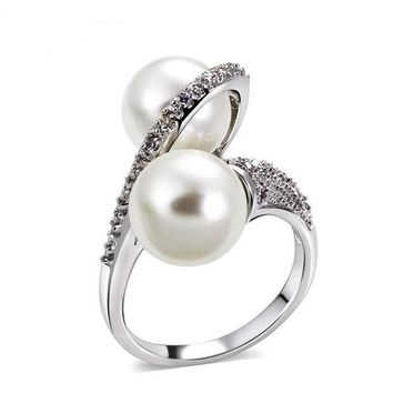 ac NOVQ2A Shell pearl micro inlaid zircon ring simple personality fashion ring