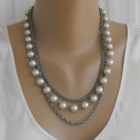 4 Strand Necklace Faux Pearls Chains Fancy Clasp Vintage Wedding Jewelry