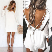 Sexy Women White Casual Summer Long Sleeve Party Evening Cocktail Mini Dress New