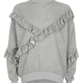 Metallic Ruffle Sweatshirt - New In This Week - New In