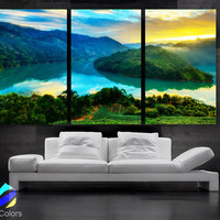 "LARGE 30""x 60"" 3 Panels Art Canvas Print Beautiful Nature mountain landscape sunset Wall Home (Included framed 1.5"" depth)"
