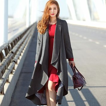 New Fashion Autumn Winter Women's Mid Long Plus Size Trench Coat Female Red Grey Solid Wave Cut Outerwear Irregular Coat