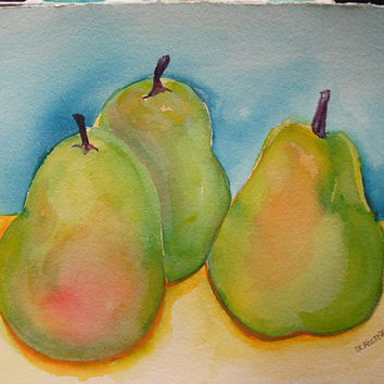 Fresh Modern Pears Original  Watercolor 3 Pears by SharonFosterArt