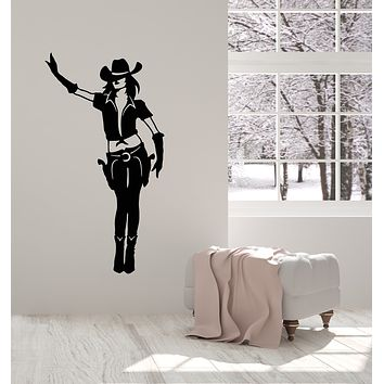 Vinyl Wall Decal Cowgirl Sexy Woman With Gun Hat Western Decor Stickers Mural (g1672)