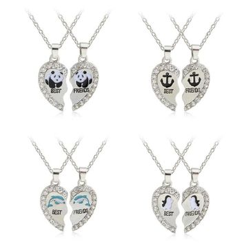 Hot Selling Panda Dolphins Penguins Anchor Pendant Necklace Fashion Best Friends 2 pcs/set Alloy Necklace Valentine's Gift
