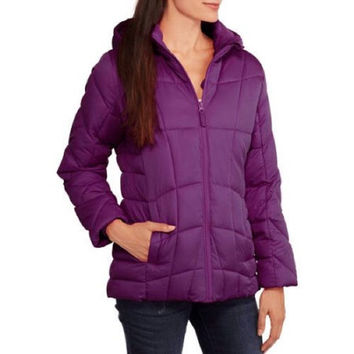 Faded Glory Women's Hooded Puffer Coat, Small, Purple, 4X
