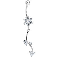 Crystalline Gem Trailing Vine and Flower Dangle Belly Ring | Body Candy Body Jewelry