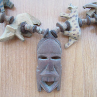 Kenya hand carved wood mask and animal necklace vintage
