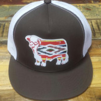 """Brown and White Serape Hereford Patch Cap (4"""")"""