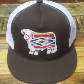 """Lazy J Brown and White Serape Hereford Patch Cap (4"""")"""