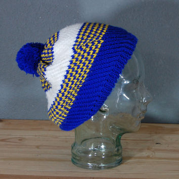 1980's Knit Hat / Puffy Ball Cap / Beret / Blue Yellow White Stripes