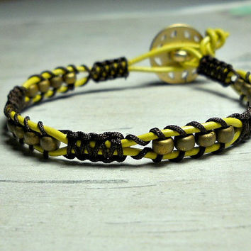 Christmas Gift Idea, Chocolate  Macrame Bracelet, Beaded Bracelet, Stacking Bracelet, Womens Bracelet