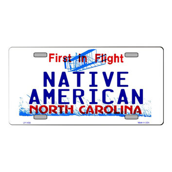 Smart Blonde North Carolina Native American Novelty State Background Customizable Vanity Metal Novelty License Plate Tag Sign
