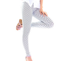 White Geometrical Print Leggings