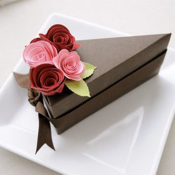 PAPER Chocolate cake slice favor box with pink and by imeondesign