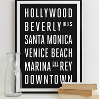 Wall Art Subway Sign Typography Poster - Modern Art Print LOS ANGELES City 12x18