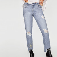 EMBROIDERED BEJEWELLED JEANS