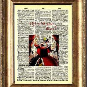 Alice in Wonderland QUEEN OF HEARTS Print on ANTIQUE DICTIONARY BOOK PAGE Shoes