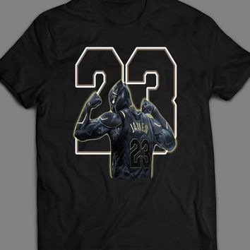 MARVEL'S BLACK PANTHER LEBRON JAMES NIKE MASH UP CUSTOM ART T-SHIRT