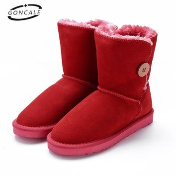 GONCALE Genuine Leather Snow Boots