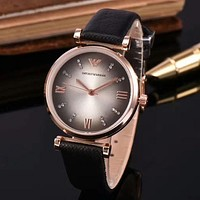 ARMANI Fashion Leather Quartz Movement Watch Wristwatch