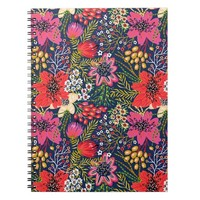 Vintage Bright Floral Pattern Spiral Notebook