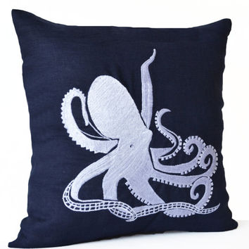Navy Blue Throw Pillow Case -Beach Decor Nautical Pillow Cushion -Embroidered Octopus Accent Linen Pillow -Sofa Bed Couch Pillow -16x16 Gift