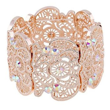 D EXCEED Womens Bohemian Lace Bracelet Vintage Filigree Cuff Bangle Bracelet Wide Stretch Rhinestone Bracelets