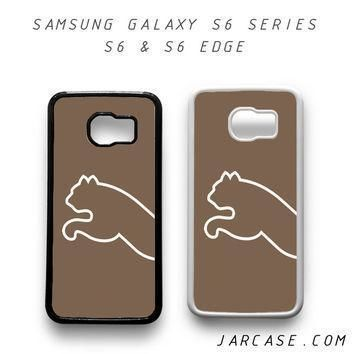 brown puma half logo phone case for samsung galaxy s6 s6 edge  number 1