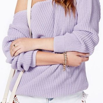 Purple Plain Long Sleeve Acrylic Sweater