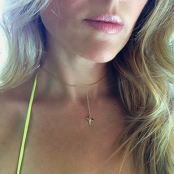 Cruel Summer Shark Tooth Necklace, Gold Shark Tooth Necklace, Gold Choker