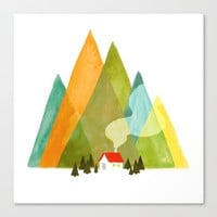 House at the foot of the mountains Canvas Print by Picomodi