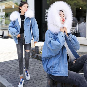 Trendy Big Fur Female Jacket Winter Warm Denim Coat Women 2018 New Winter Denim Jacket Women Fur lining Warm Women Bomber Jacket AT_94_13