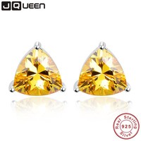 6.2ct Genuine 925 Sterling Silver Wedding Engagement Jewelry Triangle Citrine Earrings brincos Fashion Jewelry for women