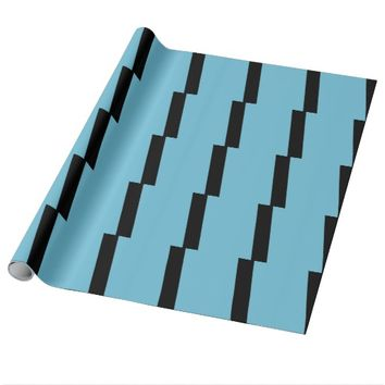 Light Blue and Black Striped Wrapping Paper