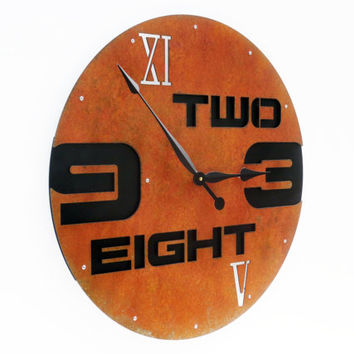 Outnumbered I, Extra Large Wall Clock, Rusty Metal Art, Huge, Giant, with Numbers, Southwestern Decor, Roman Numeral, Natural, Round, Quartz