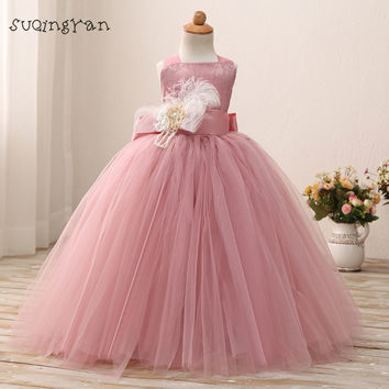 2016 Real Photo Blush Pink Tulle Flower Girls Dresses TUTU Floor Length Lace Girls First Communion Dress  Kids Party Dresses