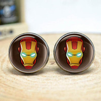 Iron Man Cufflinks, Ironman Superhero Cufflinks , Cuff links for Men,Gift for Him, Groom, Dad - Novelty Cufflinks( CL74)
