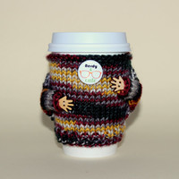 Nerdy and Cute Travel mug cozy. Coffee cozy. Knitted cup sweater. Office coffee. Eco-friendly cup sleeve with arms. Starbucks cup holder